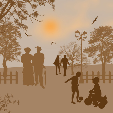 People on a city park at sunset background illustration illustration