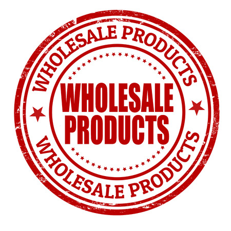 Wholesale-producten grunge rubber stempel op een witte, vector illustratie