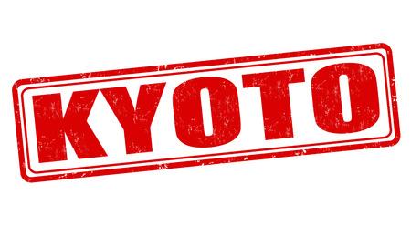 kyoto: Kyoto grunge timbro di gomma su bianco, illustrazione vettoriale Vettoriali