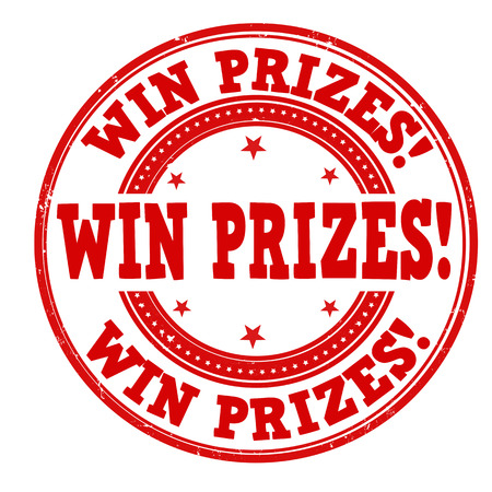 Win prizes grunge rubber stamp on white