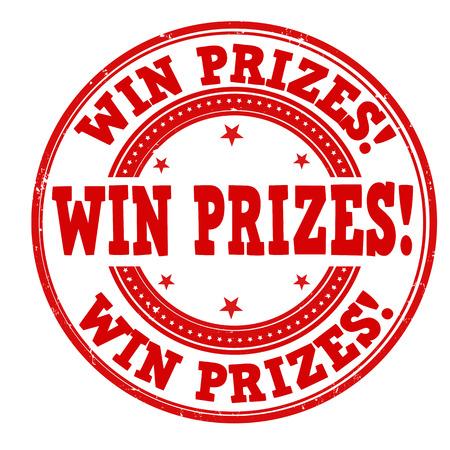 winning money: Win prizes grunge rubber stamp on white