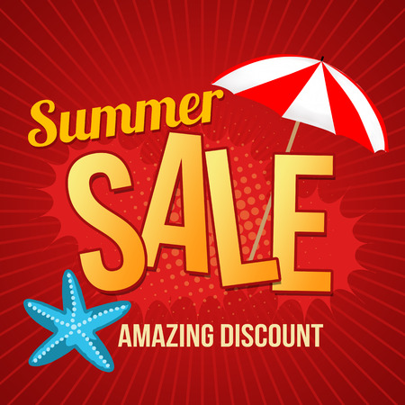 Summer sale design template with umbrella and starfish promotional poster