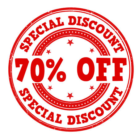 70: Special discount 70% off grunge rubber stamp on white Illustration