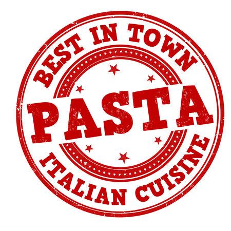 Pasta grunge rubber stamp on white, vector illustration Vector