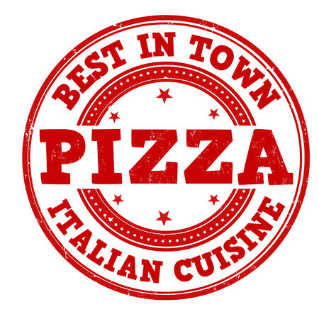 Pizza grunge rubber stamp on white, vector illustration Vector