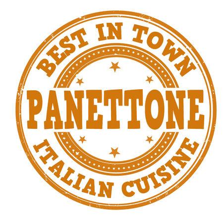 Panettone grunge rubber stamp on white, vector illustration