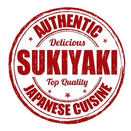 Sukiyaki grunge rubber stamp on white, vector illustration Vector