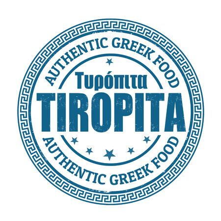 seasoned: Tiropita (cheese pie in greek language)grunge rubber stamp on white, vector illustration