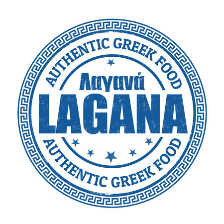 pita bread: Lagana (Traditional bread in greek language)grunge rubber stamp on white, vector illustration
