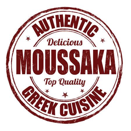 Moussaka grunge rubber stamp on white, vector illustration Vector