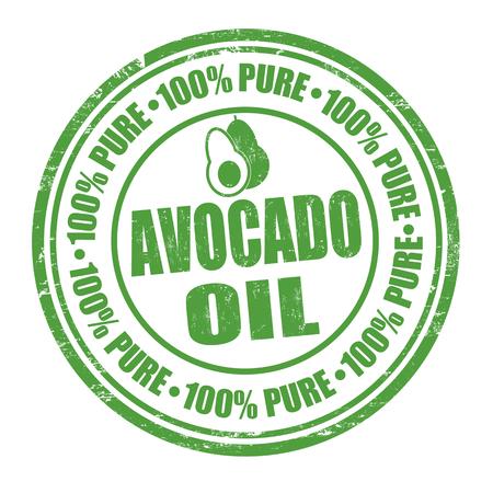 Avocado oil grunge rubber stamp on white, vector illustration Vector