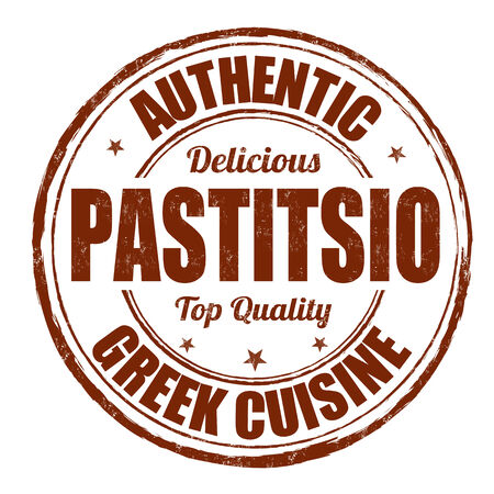 Pastitsio  greek traditional food  grunge rubber stamp on white, vector illustration Vector