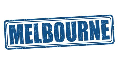 melbourne: Melbourne grunge rubber stamp on white, vector illustration