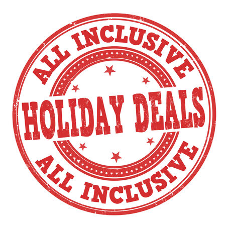 inclusive: All inclusive, holiday deals grunge rubber stamp on white Illustration