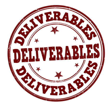 deliverable: Deliverables grunge rubber stamp on white, vector illustration