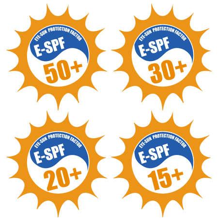 sun protection: Conjunto de sellos con factor de protecci�n solar de los ojos (E-SPF) 50 +, 20 +, 30 +, 15 +, en blanco, ilustraci�n vectorial