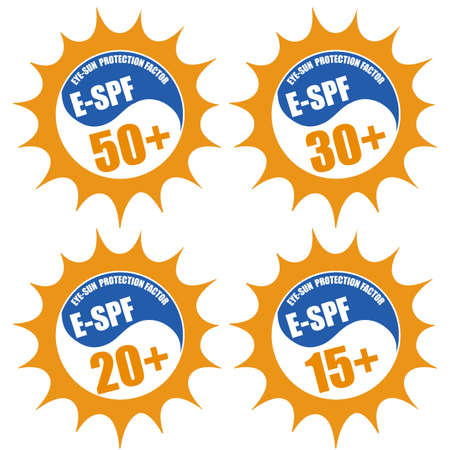 Set of stamps with Eye Sun Protection Factor ( E-SPF) 50+, 20+, 30+, 15+, on white, vector illustration Vector