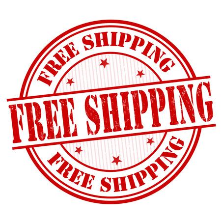 Grunge envío libre del sello de goma en blanco, ilustración vectorial Foto de archivo - 27875194