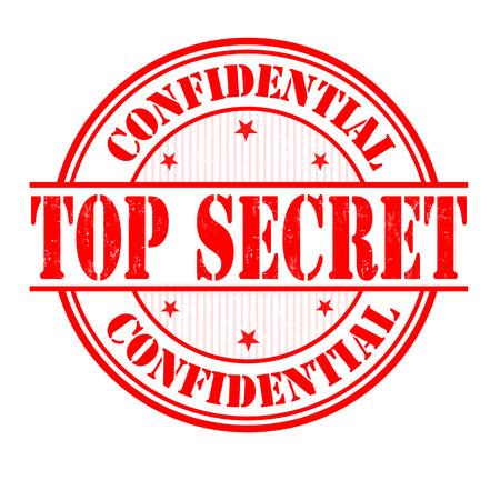 espionage: Top secret grunge rubber stamp on white, vector illustration