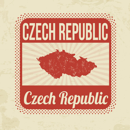 Grunge rubber stamp with the name and map of Czech Republic on vintage background, vector illustration Vector