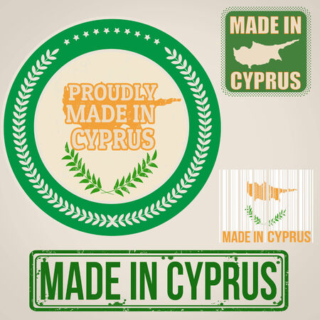 Set of stamps and labels with the text made in Cyprus written inside on retro background, vector illustration Vector