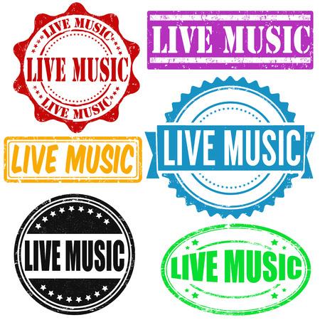rubber band: Set of live music grunge rubber stamps on white, vector illustration Illustration