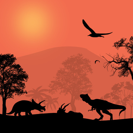 Dinosaurs silhouettes in beautiful landscape at sunset, vector illustration Vector