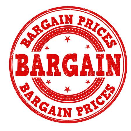 bargain: Bargain prices grunge rubber stamp on white, vector illustration