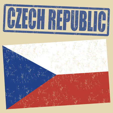 czech flag: Czech Republic grunge flag on vintage background and Czech Republic rubber stamp, vector illustration