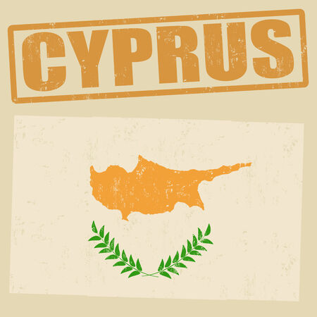 cyprus: Cyprus grunge flag on vintage background and Cyprus rubber stamp, vector illustration Illustration