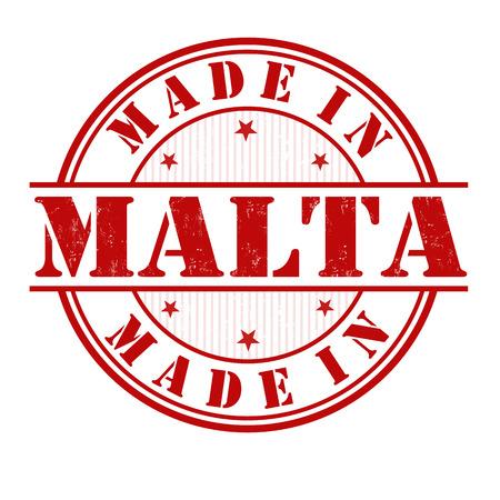 malta: Made in Malta grunge rubber stempel op wit, vector illustratie