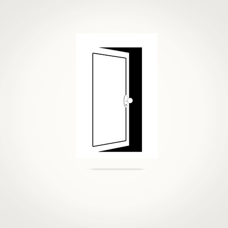 Open door icon and space for your text, vector illustration