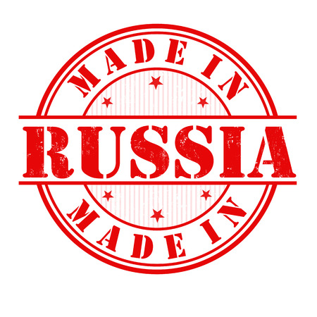 Made in Russia grunge rubber stamp on white, vector illustration Vector