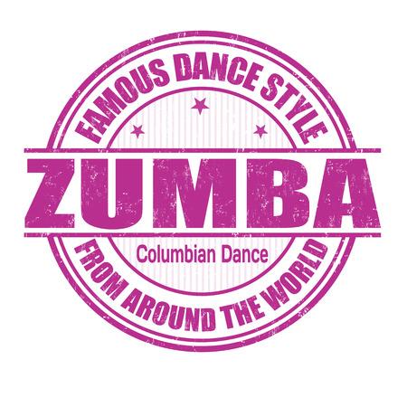 zumba: Estilo de baile famoso, zumba grunge sello de goma en blanco, ilustración vectorial
