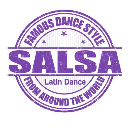 bailes latinos: Estilo de baile famoso, salsa grunge sello de goma en blanco, ilustración vectorial