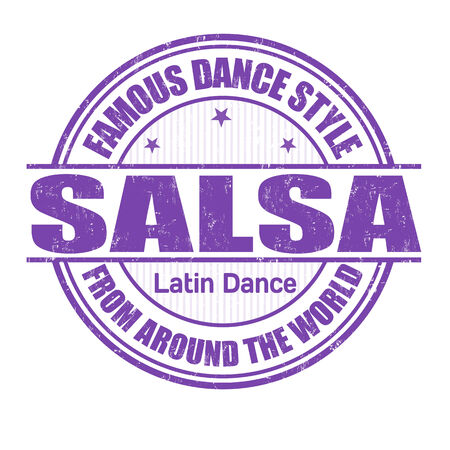 salsa dancer: Famous dance style, salsa grunge rubber stamp on white, vector illustration Illustration