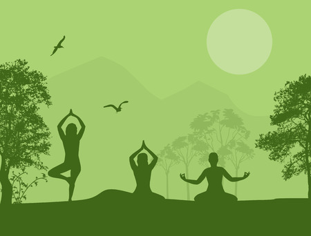 Yoga meditation silhouettes on green landscape, vector background Stock Vector - 28013074