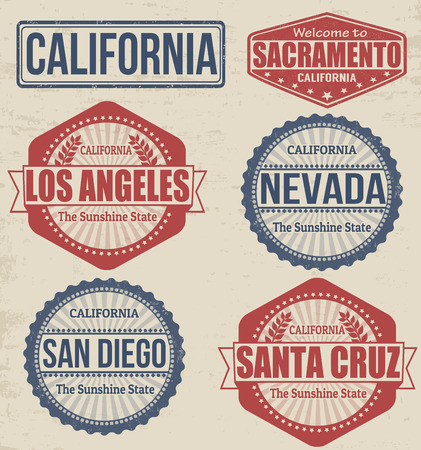 san diego: Set of California cities stamps on vintage background, vector illustration Illustration