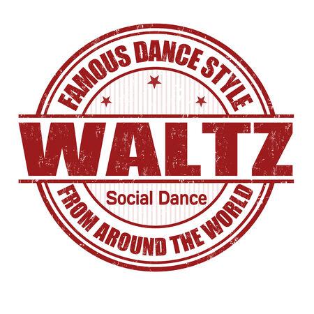 baile latino: Estilo de baile famoso, vals grunge sello de goma en blanco, ilustración vectorial