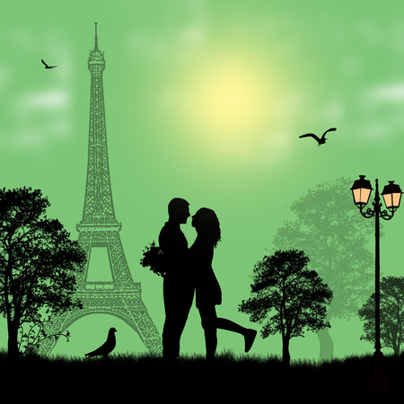 animal lover: Lovers in Paris on green background, vector illustration Illustration
