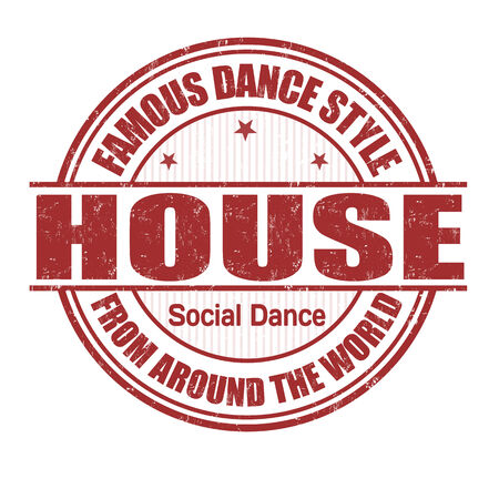 Famous dance style, House grunge rubber stamp on white Vector