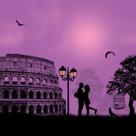 woo: Couple silhouette in love in front of Colosseum in Rome