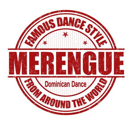baile latino: Estilo de baile famoso, Merengue grunge sello de goma en blanco
