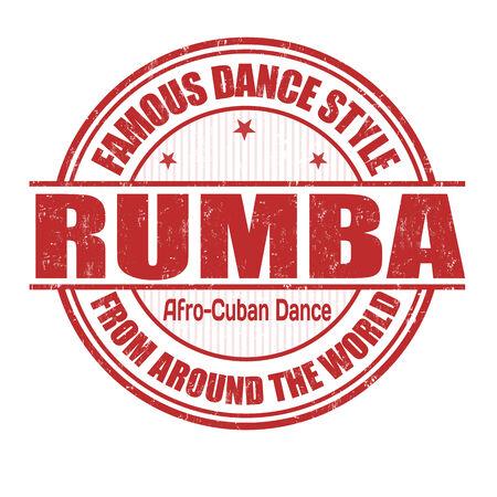 baile latino: Estilo de baile famoso, Rumba grunge sello de goma en blanco, ilustración vectorial
