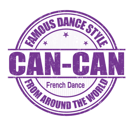 Famous dance style, Can-Can grunge rubber stamp on white