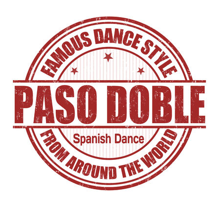 paso doble: Famous dance style, Paso Doble grunge rubber stamp on white