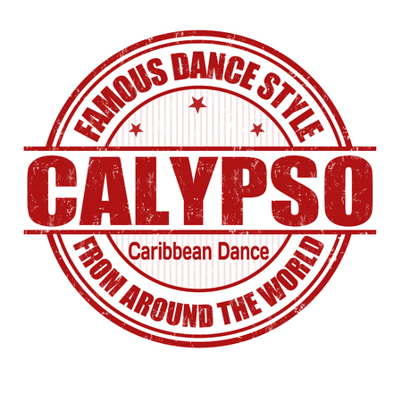 caribbean party: Famous dance style, Calypso grunge rubber stamp on white, vector illustration Illustration