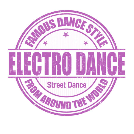 electro world: Famous dance style, Electro Dance grunge rubber stamp on white Illustration