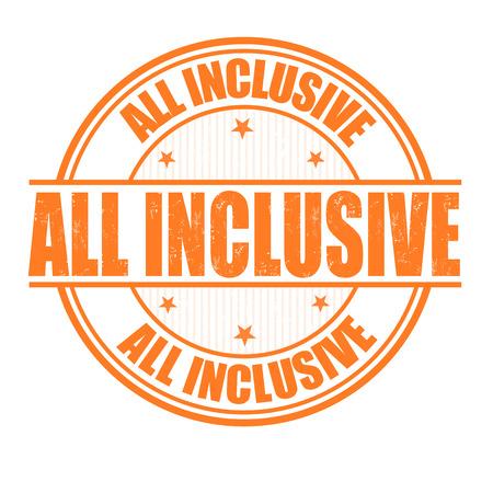 inclusive: All inclusive grunge rubber stamp on white
