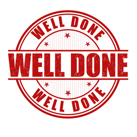 Well done grunge rubber stamp on white Vector
